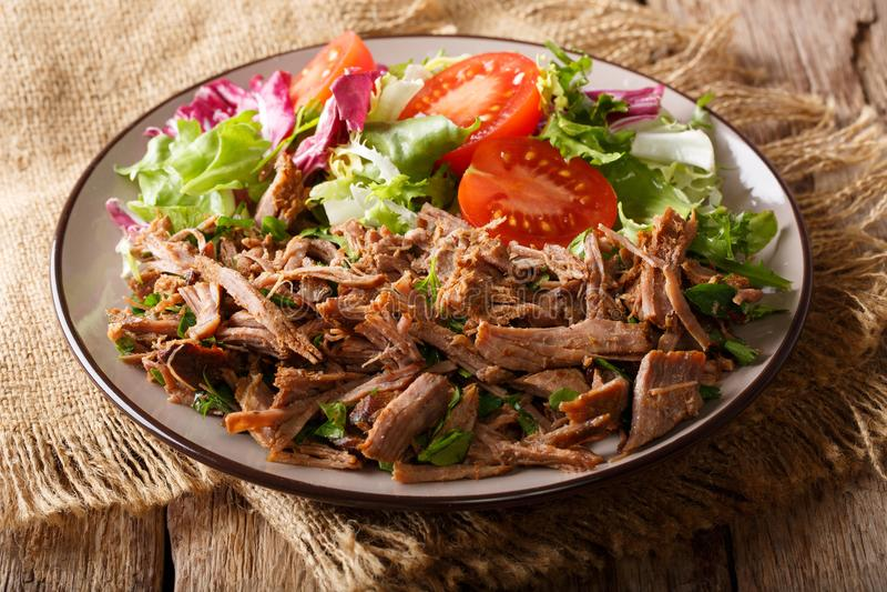 Kruidig getrokken rundvlees met plantaardig saladeclose-up op een lijst Hori stock fotografie