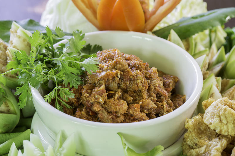 Kruidig vlees en tomaten kruidige onderdompeling stock afbeeldingen