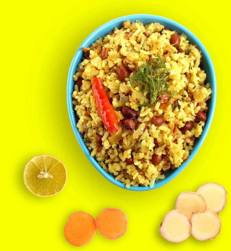 Kruidige chitranna of poha van het zuiden Indische ontbijt royalty-vrije stock afbeeldingen