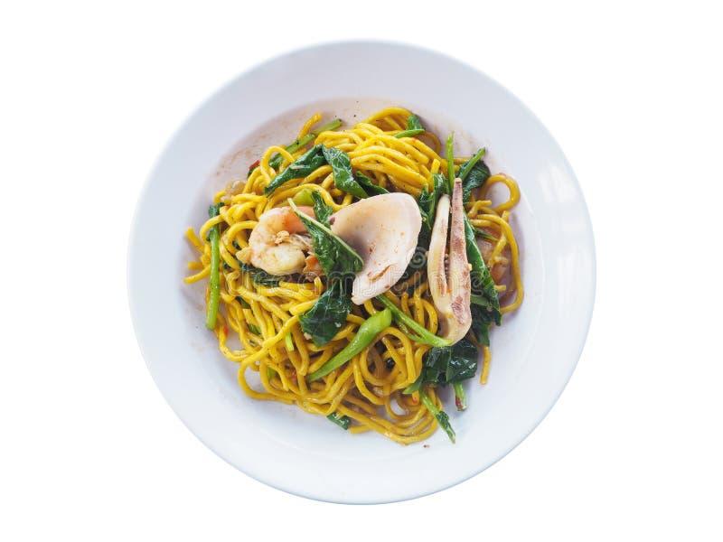Kruidige gebraden Spaghettizeevruchten en groenten royalty-vrije stock foto's