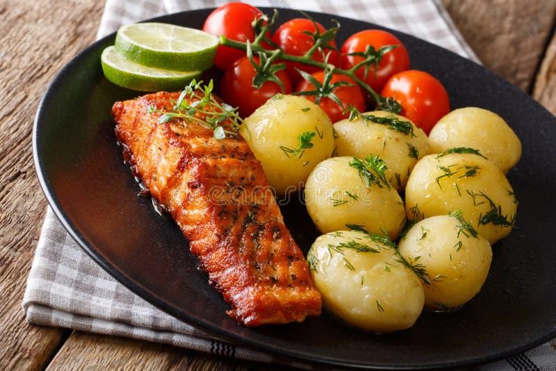 Kruidige geroosterde zalm en gekookte aardappels, vers tomaten dicht-u royalty-vrije stock afbeelding