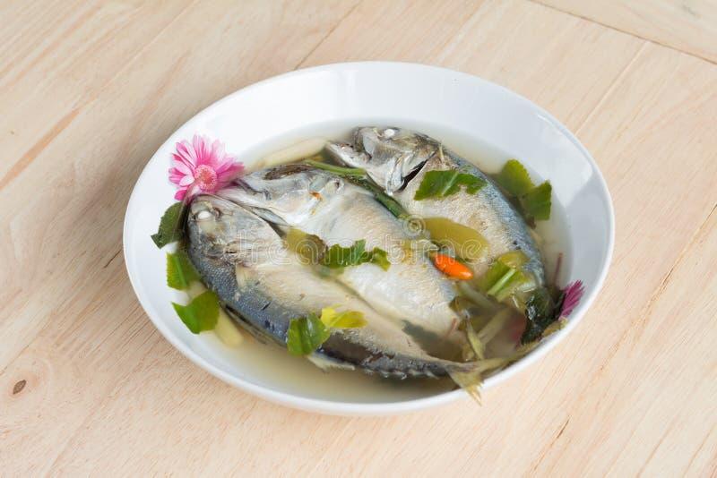 Kruidige hete en zure soep met makreelvissen stock foto