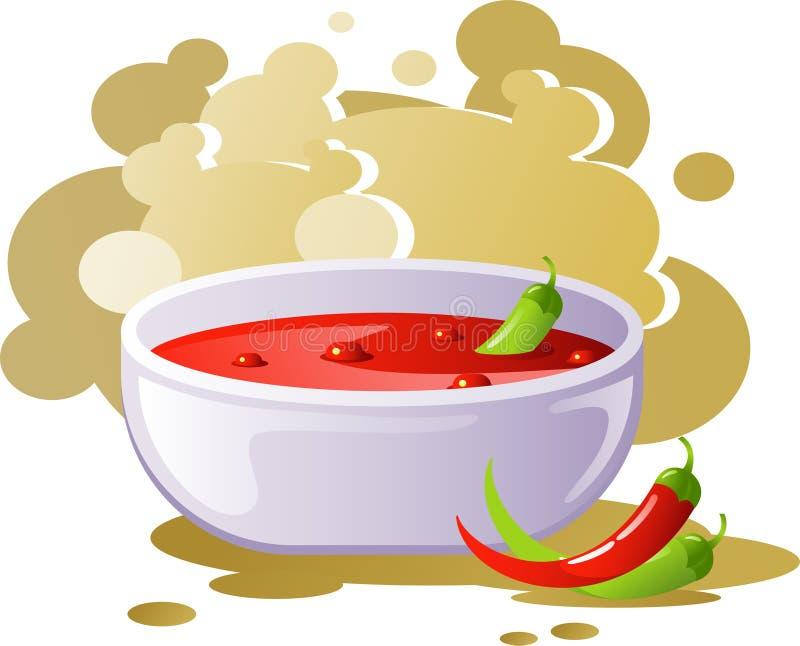 Kruidige Spaanse pepersoep royalty-vrije illustratie
