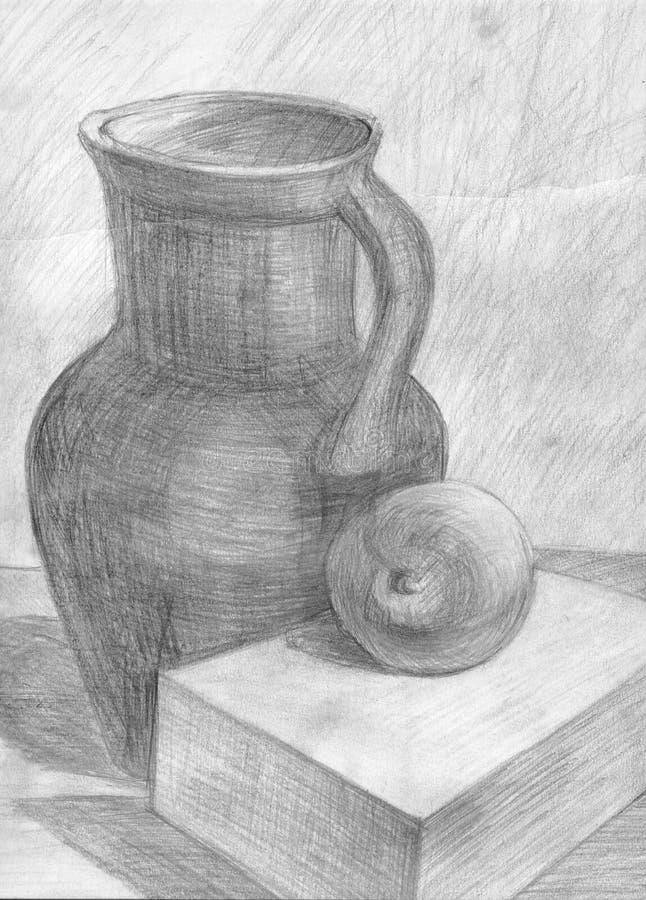 Kruik en appel stock illustratie