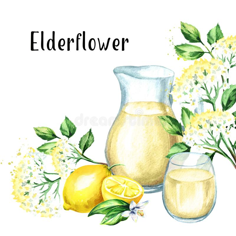 Kruik en glas met Eigengemaakte elderflowerstroop, de zomerdrank, met oudere bloem en citroen Waterverfhand getrokken illustratie stock illustratie