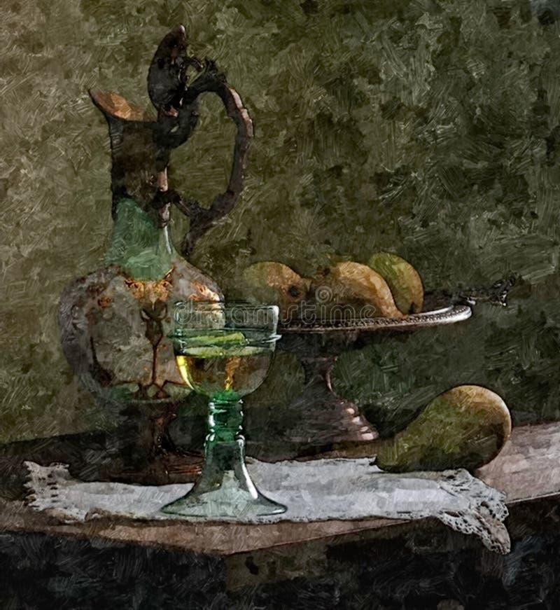 Kruik jonge wijn, peren Het rustieke nog-Leven Het schilderen van natte waterverf op papier Naïef art Tekeningswaterverf op pape royalty-vrije illustratie
