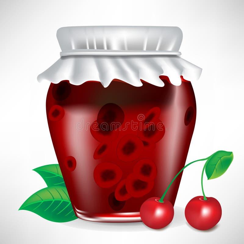 Kruik kersenjam met fruit royalty-vrije illustratie