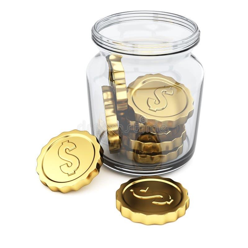 Kruik met muntstukken royalty-vrije illustratie