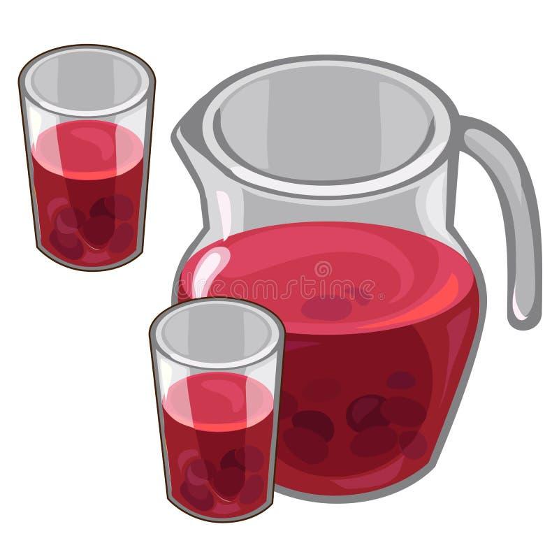 Kruik met rode bessencompote en gevulde glazen royalty-vrije illustratie