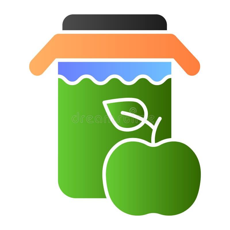 Kruik van appelsap vlak pictogram De verse pictogrammen van de drankkleur in in vlakke stijl Het de stijlontwerp van de appelsapg stock illustratie