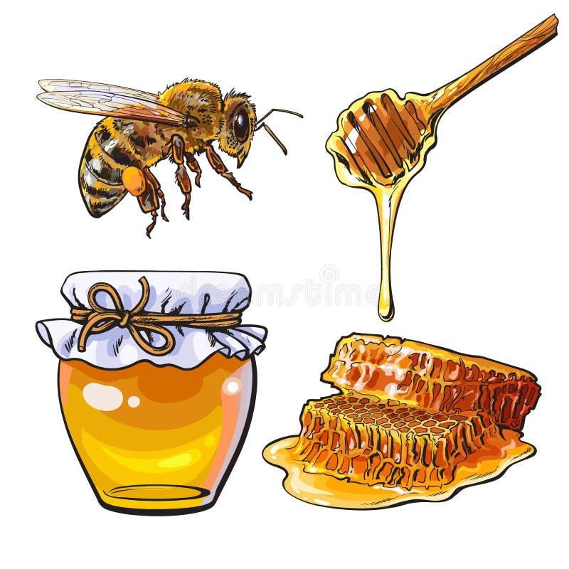 Kruik van honing, bij, dipper en honingraat op witte achtergrond stock illustratie