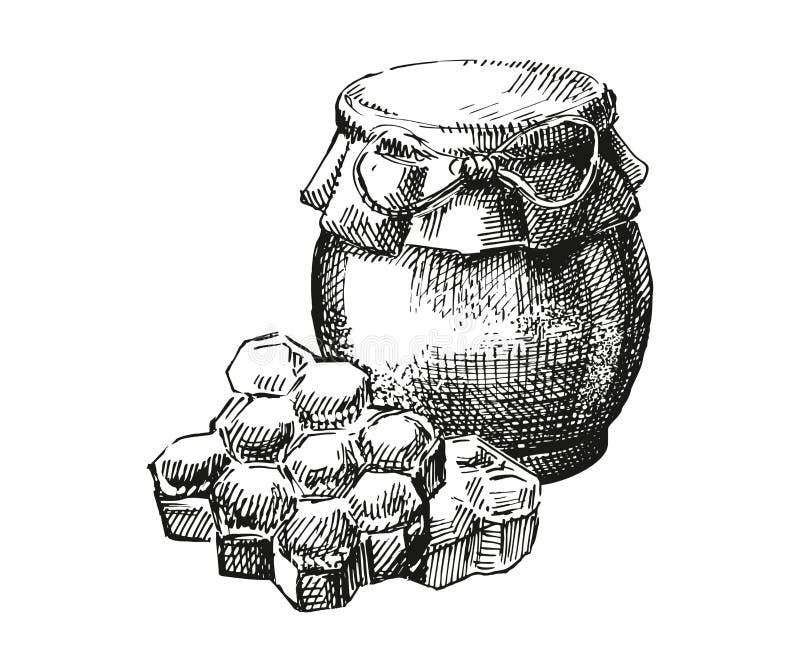 Kruik van honing en honingraten stock foto's