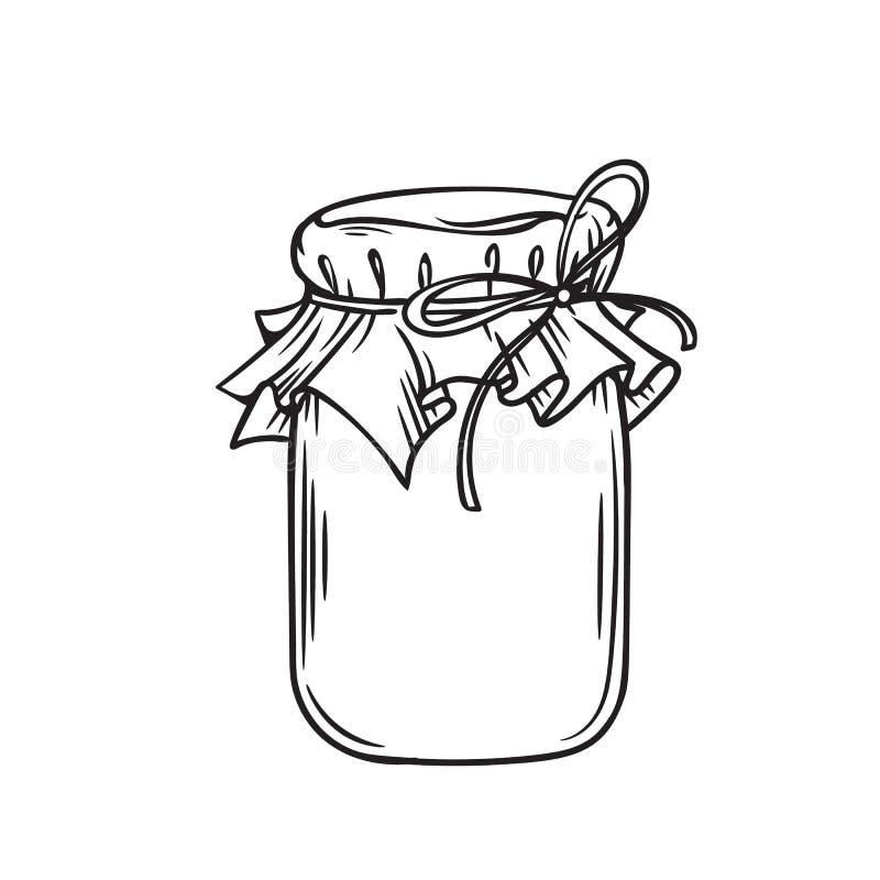Kruik van honing of glaskruik stock illustratie
