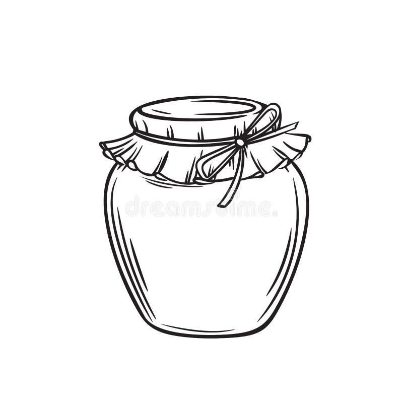 Kruik van honing of glaskruik royalty-vrije illustratie