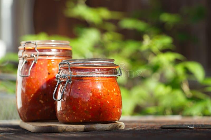 Kruik van naar huis gemaakte klassieke kruidige Tomatensalsa royalty-vrije stock fotografie