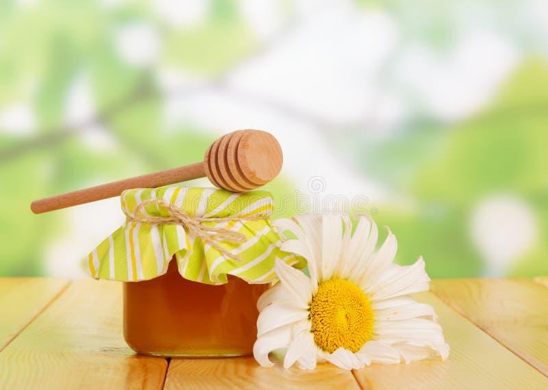 Kruik van verse honing en bloem closse-omhoog op groen royalty-vrije stock foto