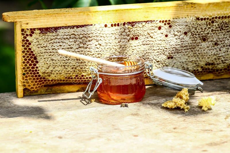 Kruik verse honing met honingraat van een bijenbijenkorf in een stilleven op een houten lijst in openlucht met exemplaarruimte royalty-vrije stock fotografie