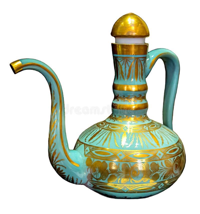 Kruikblauw met gouden ontwerpen van oud royalty-vrije stock afbeeldingen