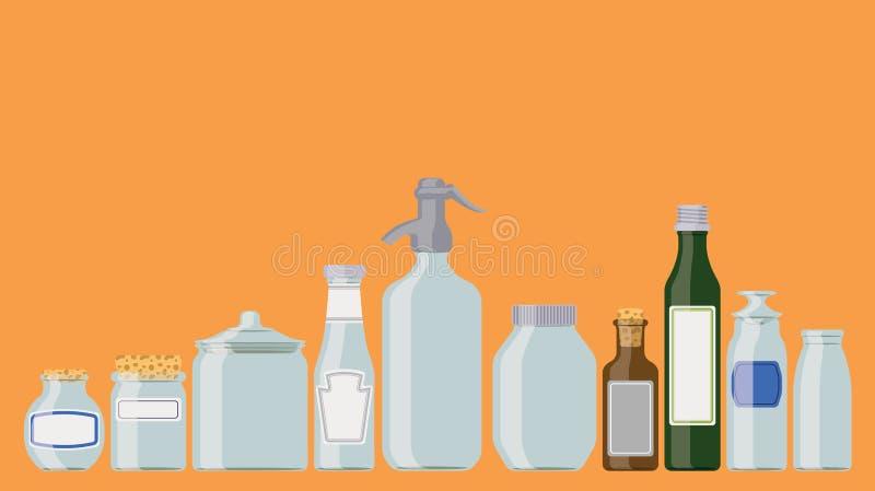 Kruiken en flessen stock illustratie
