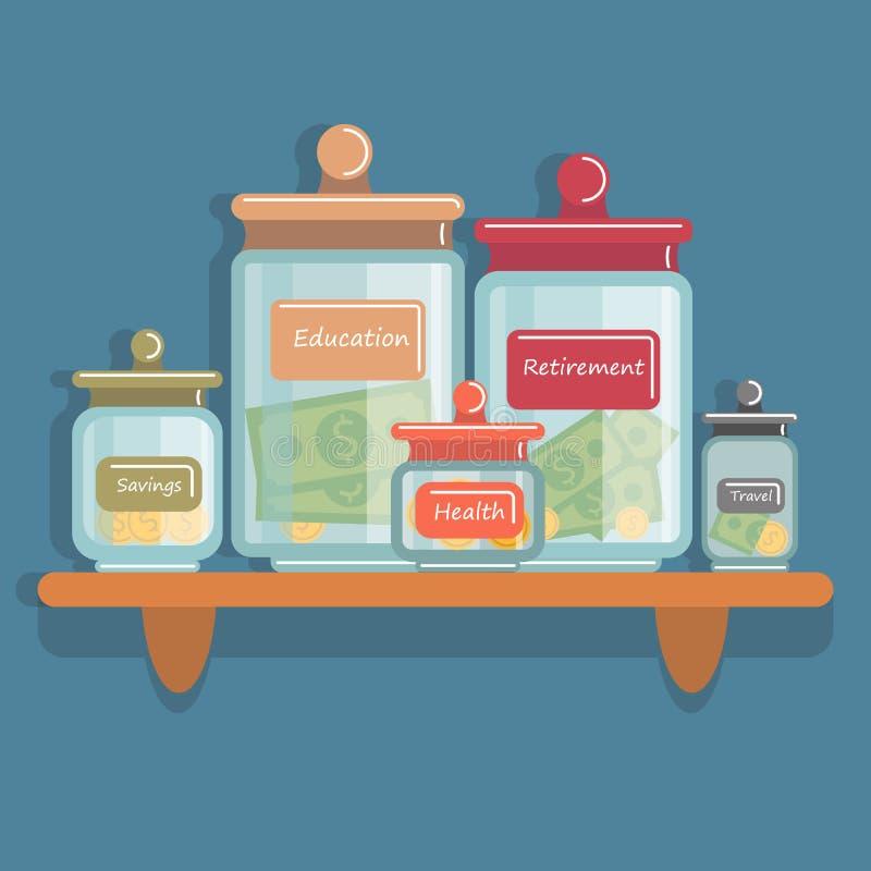 Kruiken met geld vector illustratie