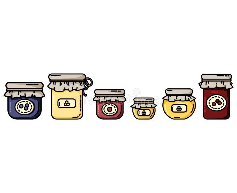 Kruiken vlakke pictogrammen met jam en honing Domeinen op een rij stock illustratie