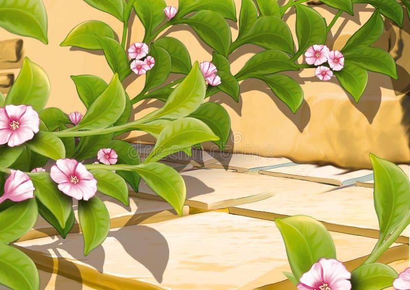 Kruipende installatie met bloemen royalty-vrije illustratie