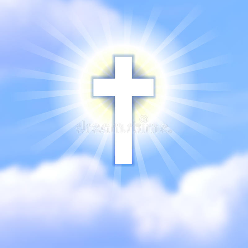 Kruis in blauwe bewolkte hemel Het symbool van de verrijzenis van Christus vector illustratie