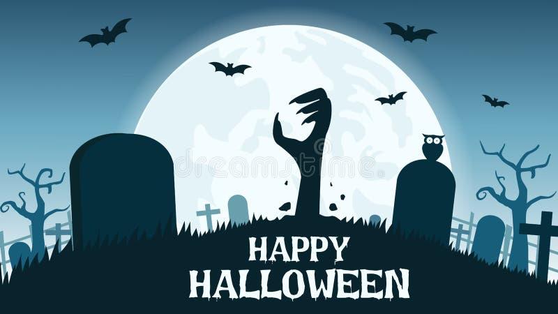 kruis, de herfst, achtergrond, banner, knuppel, zwarte, blauw, beeldverhaal, grappige begraafplaats, concept, dekking, dark, dood royalty-vrije illustratie