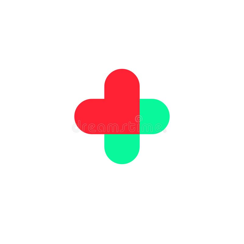 Kruis in de vorm van harten Embleem voor de kliniek, farmaceutisch bedrijf Vector die op witte achtergrond wordt geïsoleerd stock illustratie