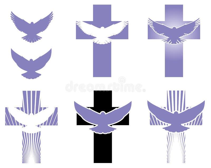 Kruis en Duifembleemelementen stock illustratie