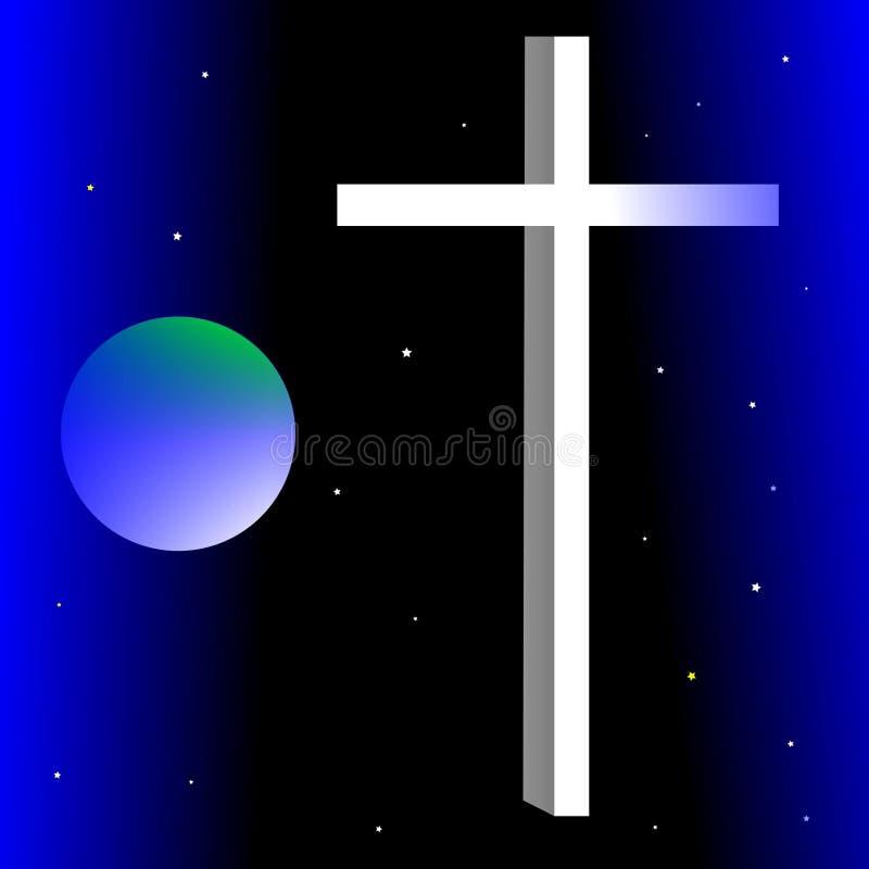 Kruis en god De god beschermt onze planeet stock illustratie