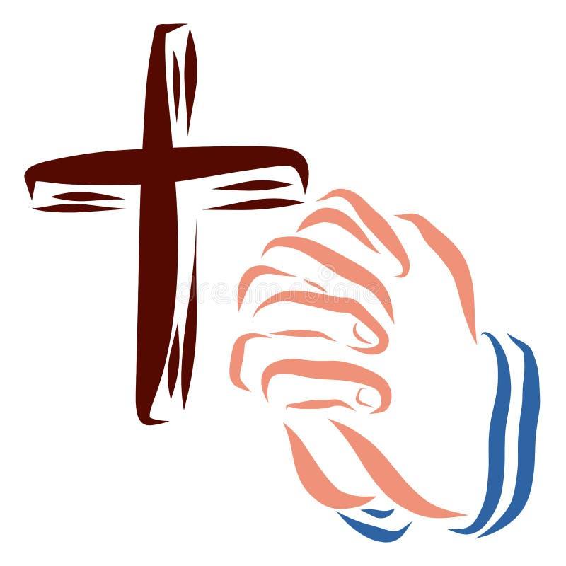 Kruis en handen van een persoons het bidden, geloof en gesprek met stock illustratie
