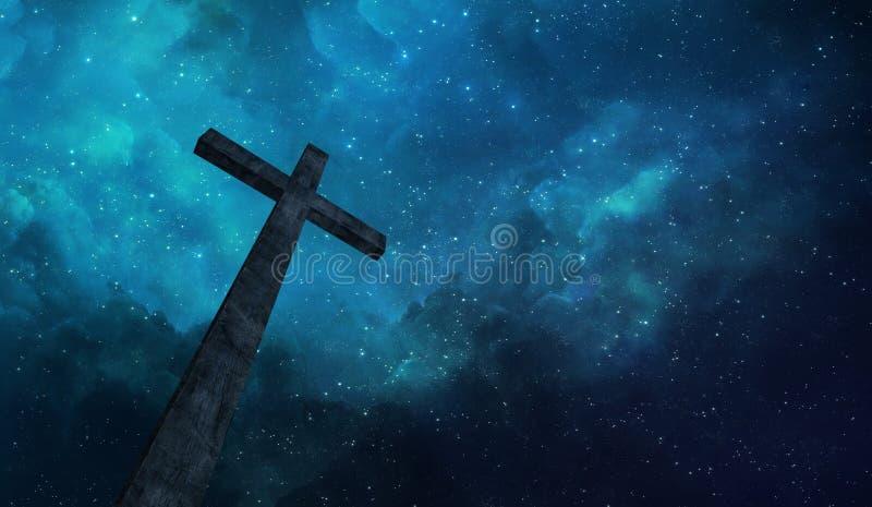 Kruis en nachthemel stock foto