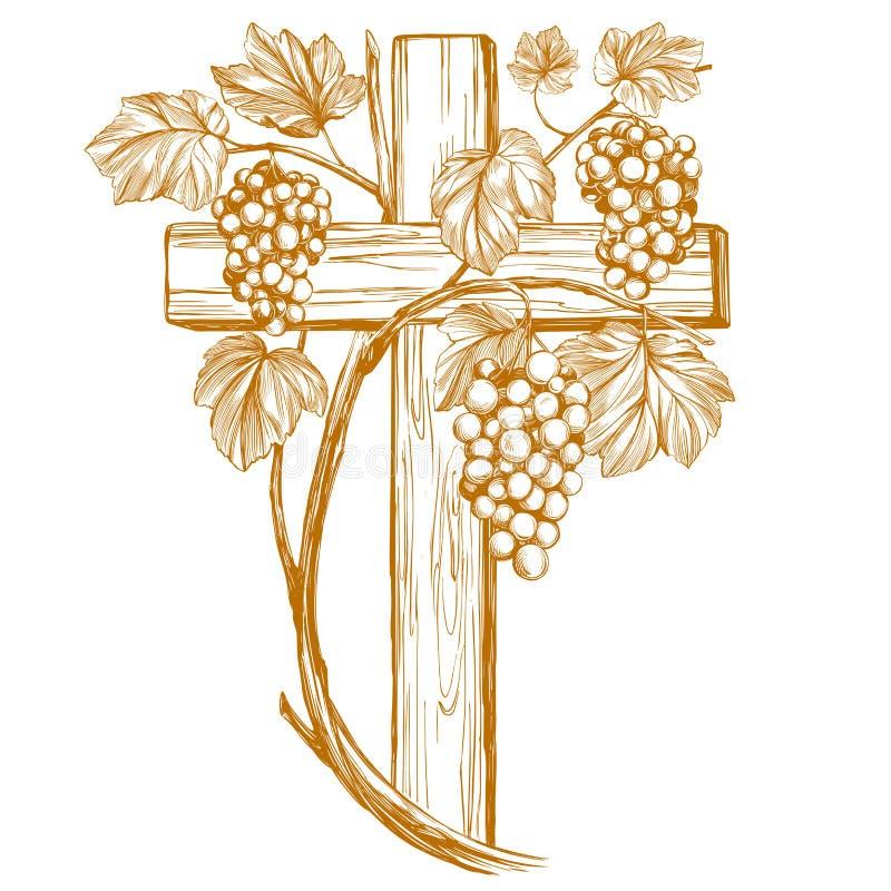 Kruis en wijnstok, druif, Pasen symbool van schets van de Christendom de hand getrokken vectorillustratie royalty-vrije illustratie
