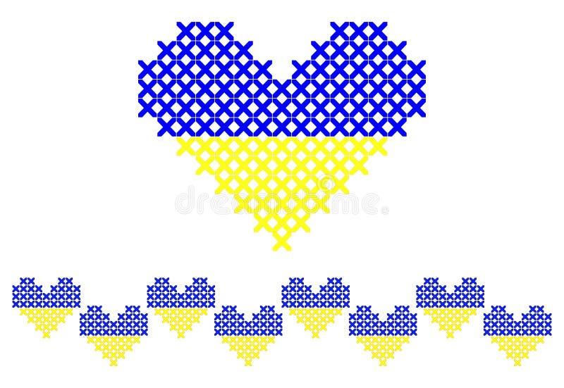 Kruis gestikt hart en naadloze grens stock illustratie