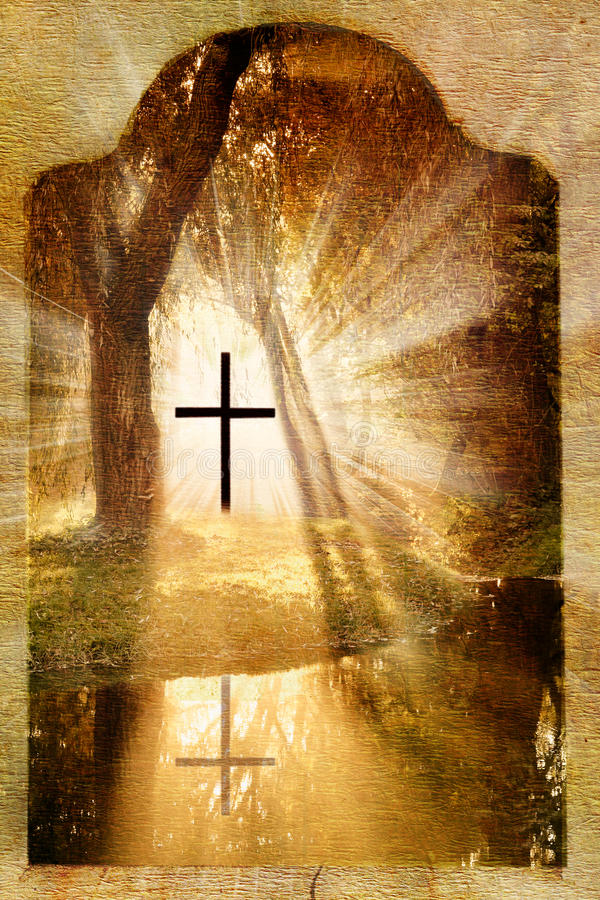 Kruis in het bos royalty-vrije stock foto's