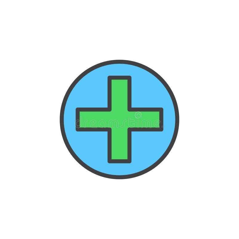 Kruis in het pictogram van de cirkellijn, gevuld overzichts vectorteken, lineair kleurrijk die pictogram op wit wordt geïsoleerd stock illustratie