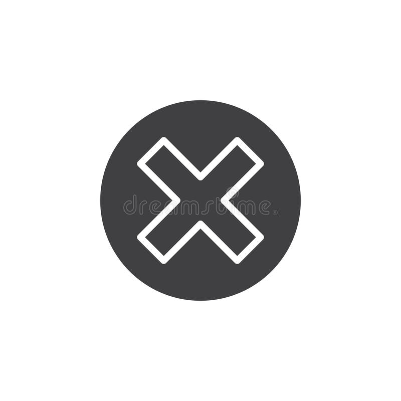 Kruis in het vector, gevulde vlakke teken van het cirkelpictogram, stevig die pictogram op wit wordt geïsoleerd stock illustratie