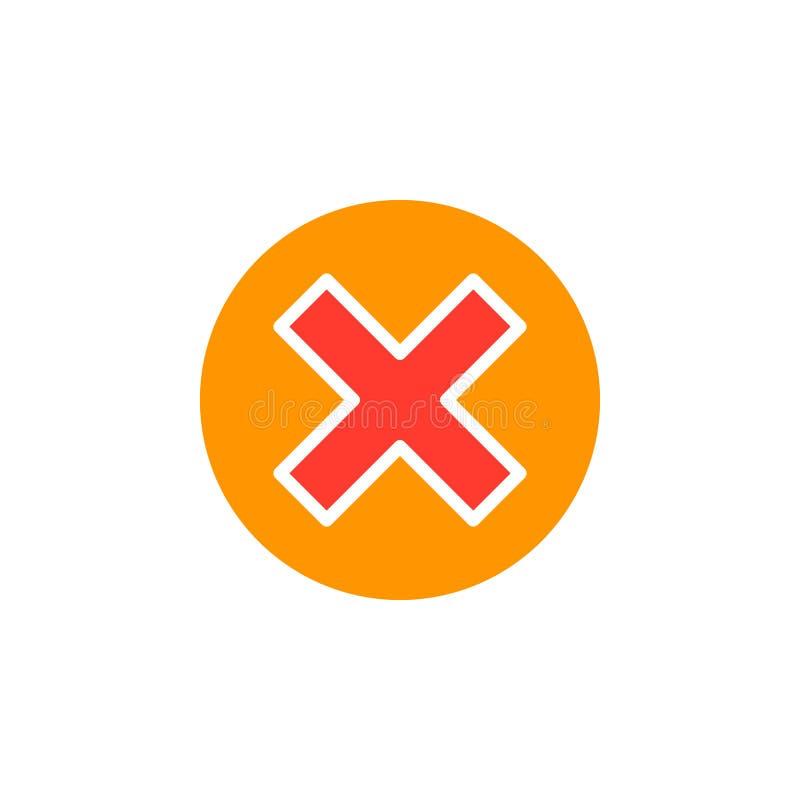 Kruis in het vector, gevulde vlakke teken van het cirkelpictogram, stevig kleurrijk die pictogram op wit wordt geïsoleerd royalty-vrije illustratie