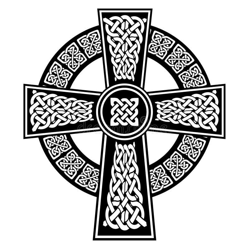 Kruis in Keltische stijl met eindeloze die knopenpatronen in wit en zwart met slagelementen tegen Ierse St Patrick ` s Dag worden vector illustratie