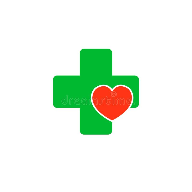 Kruis met een hart Embleem voor de kliniek, farmaceutisch bedrijf Vector die op witte achtergrond wordt geïsoleerd royalty-vrije illustratie