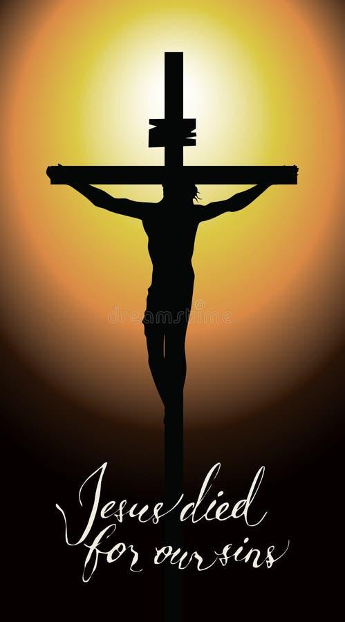 Kruis met gekruisigd Jesus Christ in de zonsondergang royalty-vrije illustratie