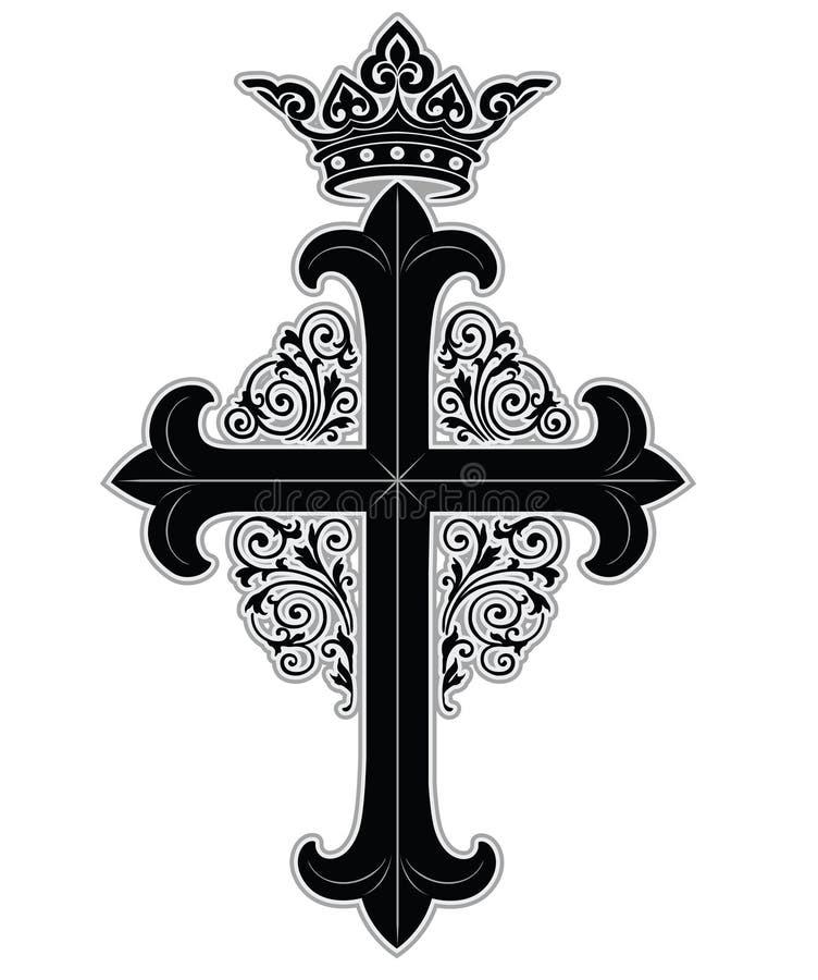 Kruis met kroon stock illustratie