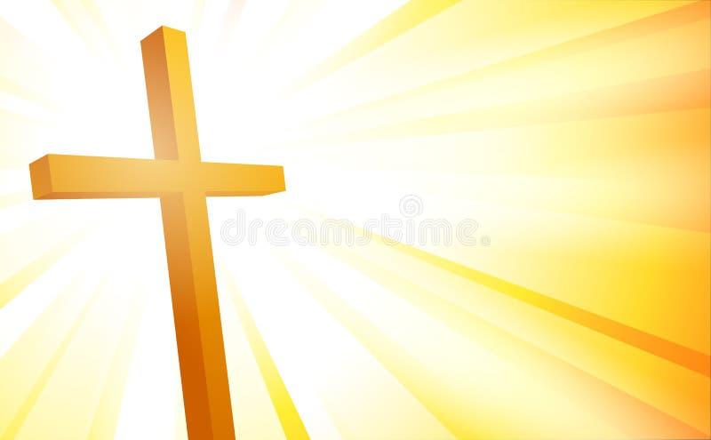 Kruis op zonnestraalachtergrond royalty-vrije illustratie