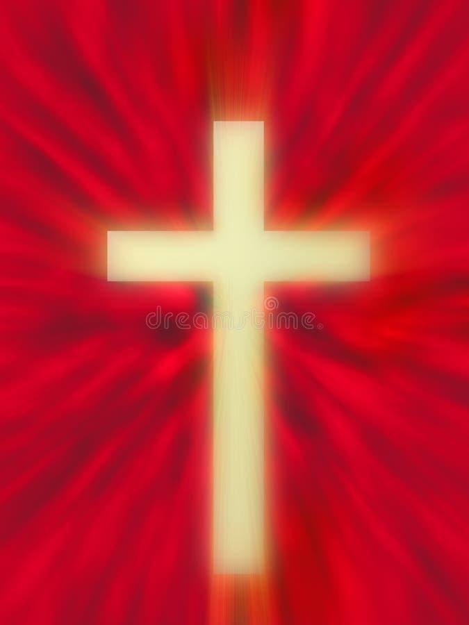 Kruis op rood vector illustratie