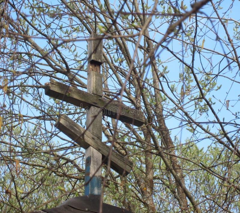 Kruis over de oude kapel stock foto's