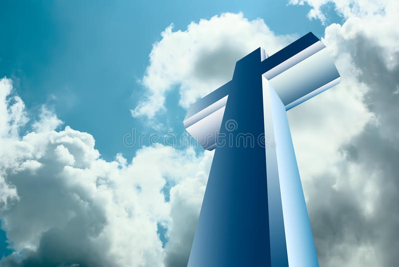 Kruis over hemel royalty-vrije illustratie