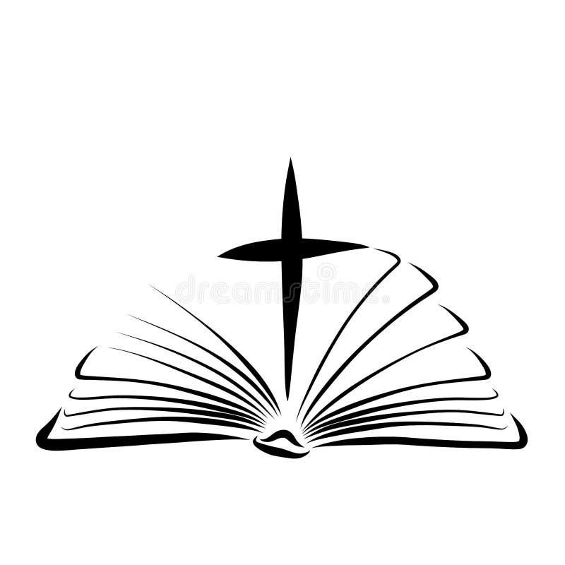 Kruis tussen pagina's van een open Bijbel, Nieuw Testament royalty-vrije illustratie