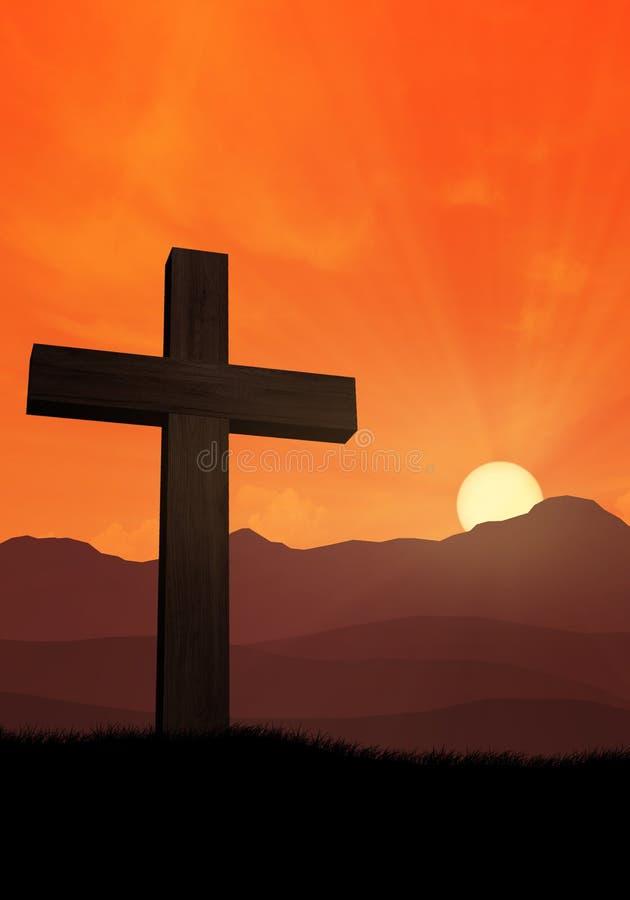 Kruis van Jesus voor bergen bij zonsondergang 2 royalty-vrije illustratie