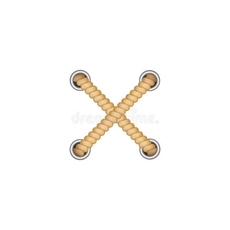 Kruis van twee bruine kabels uit gaten met ronde dichtingsringen realistische stijl royalty-vrije illustratie